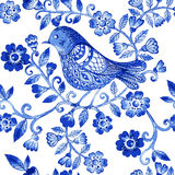 Vector floral watercolor texture pattern with blue flowers and birds Stock Photos