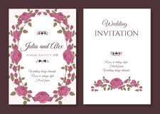 Vector floral wedding invitation card with frame of pink roses Royalty Free Stock Images