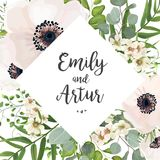 Vector floral wedding invite card design: Eucalyptus silver doll. Ar branch greenery, foliage natural leaves rhombus frame in watercolor style. Vector decorative Stock Photo