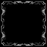 Vector floral white frame on a black background Stock Images