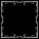 Vector floral white frame on a black background. Vector square floral white frame on a black background Royalty Free Stock Image