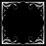 Vector floral white frame on a black background Royalty Free Stock Photography