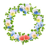 Vector floral wreath with flowers, hearts Royalty Free Stock Photography
