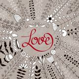 Vector Floral Wreath and Love Lettering Royalty Free Stock Photos
