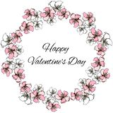 Vector floral wreath of pink and white colors for St. Valentine`s Day greetings stock illustration