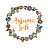 Vector floral wreath with text Autumn Sale. Royalty Free Stock Images