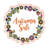Vector floral wreath with text Autumn Sale. Stock Image