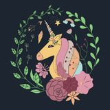 Vector floral wreath with unicorn. Circle frame. royalty free illustration