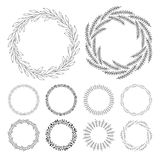 Hand drawn floral wreath clip art, round frame with leaves Royalty Free Stock Photos