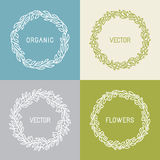 Vector floral wreaths and linear borders Royalty Free Stock Image