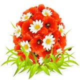 Vector flores da mola na forma do ovo de Easter Imagens de Stock Royalty Free