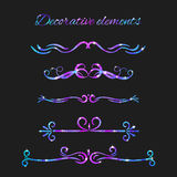 Vector Flourishes. Dividers Set. Hand Drawn Decorative Swirls Royalty Free Stock Photo