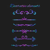 Vector Flourishes. Dividers Set. Hand Drawn Decorative Swirls Royalty Free Stock Photography