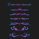 Vector Flourishes. Dividers Set. Hand Drawn Decorative Swirls Royalty Free Stock Photo