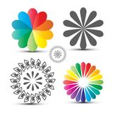 Vector Flover Icons Set. Colorful Circle Shapes. Isolated on White Background royalty free illustration