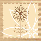 Vector flower. Brown and pink Stock Photography