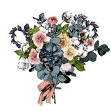 Vector flower arrangement. Wedding bouquet. English roses, eucalyptus, cotton and succulents.  Royalty Free Stock Image
