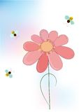 The vector flower and bee Stock Image