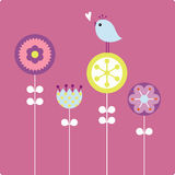 Vector  flower and bird Stock Image