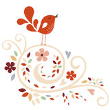Vector flower and bird background Royalty Free Stock Image