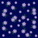 Vector of Flower Blue on Blue Background. Vector of Flower Blue green leaf on Blue Background Stock Photo