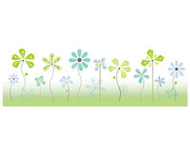 Vector flower border with grass Royalty Free Stock Image