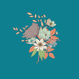 Vector flower bouquet, botanical and floral decoration hand draw Stock Image