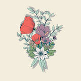 Vector flower bouquet, botanical and floral decoration hand draw Stock Photos