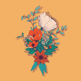 Vector flower bouquet, botanical and floral decoration hand draw Royalty Free Stock Photos