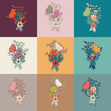 Vector flower bouquet, collection, botanical and floral decorati Stock Photography