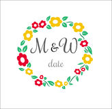 Vector flower circle wedding stamp with place for Royalty Free Stock Photography