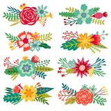 Vector flower compositions. Floral arrangements set. Isolated Stock Photo