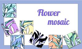 Collection mosaic with different floral royalty free illustration