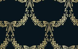 Vector flower damask vector seamless pattern bow royalty free illustration