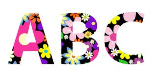 Vector flower font ABC Stock Image