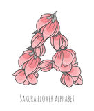 Vector flower font made with sakura flowers and leaves. Vector colorful flower font - font made with sakura flowers and leaves - floral alphabet letter A vector stock illustration