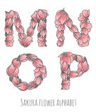 Vector flower font made with sakura flowers and leaves. Vector colorful flower font - font made with sakura flowers and leaves - floral alphabet letters set stock illustration