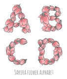 Vector flower font made with sakura flowers and leaves. Vector colorful flower font - font made with sakura flowers and leaves - floral alphabet letters set royalty free illustration