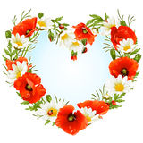 Vector flower frame in the shape of heart stock illustration