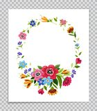 Vector flower frame. Template for invitation, greeting card, cover, notebook. Colorful flower wreath.Vintage style. Vector flower frame. Template for invitation Royalty Free Stock Photography