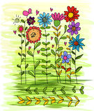 Vector of Flower Freehand. Draw Royalty Free Stock Image