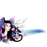 Vector flower girl Stock Photography