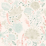 Vector flower and Leaf retro Pattern Royalty Free Stock Images