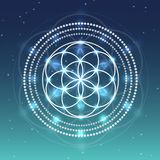 Vector Flower of Life Symbol on Sky with Stars Illustration. Vector Flower of Life Symbol on a Natural Background with Sky and Stars Vector Illustration
