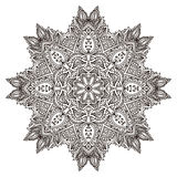 Vector flower mandala with hand drawn floral henna elements. stock illustration