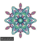 Vector flower mandala icon isolated on white Royalty Free Stock Photos