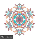 Vector flower mandala icon isolated on white stock photography