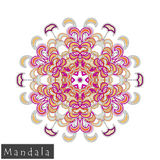 Vector flower mandala icon isolated on white stock images