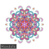 Vector flower mandala icon isolated on white royalty free stock image