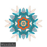 Vector flower mandala icon isolated on white royalty free stock photography